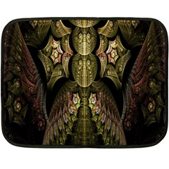 Fractal Abstract Patterns Gold Double Sided Fleece Blanket (mini)