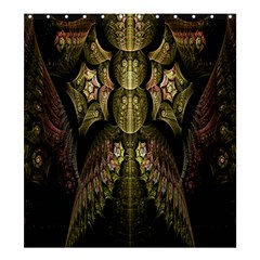 Fractal Abstract Patterns Gold Shower Curtain 66  x 72  (Large)