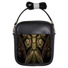 Fractal Abstract Patterns Gold Girls Sling Bags