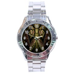 Fractal Abstract Patterns Gold Stainless Steel Analogue Watch