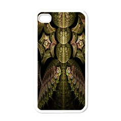 Fractal Abstract Patterns Gold Apple iPhone 4 Case (White)