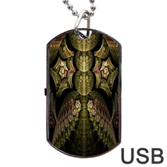 Fractal Abstract Patterns Gold Dog Tag USB Flash (One Side)