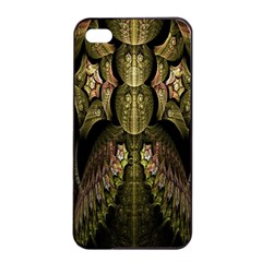 Fractal Abstract Patterns Gold Apple iPhone 4/4s Seamless Case (Black)