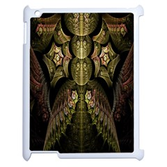 Fractal Abstract Patterns Gold Apple iPad 2 Case (White)