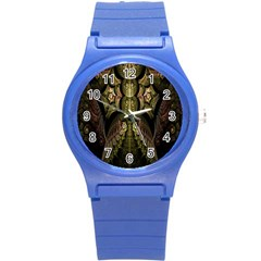 Fractal Abstract Patterns Gold Round Plastic Sport Watch (S)