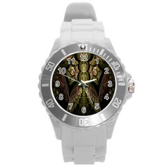 Fractal Abstract Patterns Gold Round Plastic Sport Watch (L)