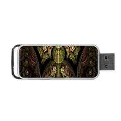 Fractal Abstract Patterns Gold Portable USB Flash (One Side)