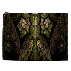 Fractal Abstract Patterns Gold Cosmetic Bag (XXL)