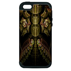 Fractal Abstract Patterns Gold Apple Iphone 5 Hardshell Case (pc+silicone)