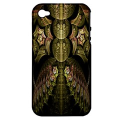 Fractal Abstract Patterns Gold Apple iPhone 4/4S Hardshell Case (PC+Silicone)