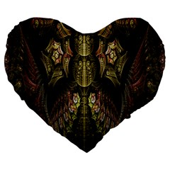 Fractal Abstract Patterns Gold Large 19  Premium Heart Shape Cushions