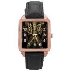 Fractal Abstract Patterns Gold Rose Gold Leather Watch
