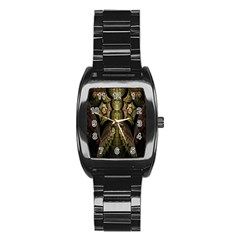 Fractal Abstract Patterns Gold Stainless Steel Barrel Watch