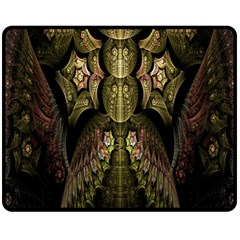 Fractal Abstract Patterns Gold Double Sided Fleece Blanket (Medium)