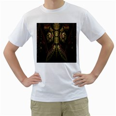 Fractal Abstract Patterns Gold Men s T-Shirt (White)
