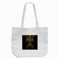 Fractal Abstract Patterns Gold Tote Bag (White)