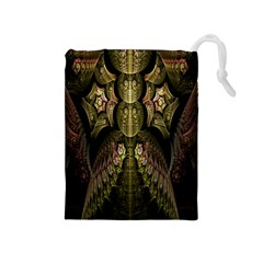 Fractal Abstract Patterns Gold Drawstring Pouches (Medium)