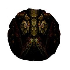 Fractal Abstract Patterns Gold Standard 15  Premium Flano Round Cushions