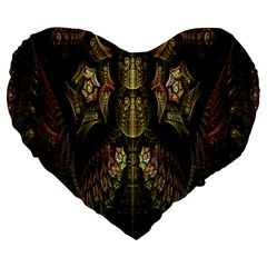 Fractal Abstract Patterns Gold Large 19  Premium Flano Heart Shape Cushions