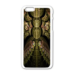 Fractal Abstract Patterns Gold Apple iPhone 6/6S White Enamel Case