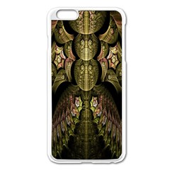 Fractal Abstract Patterns Gold Apple iPhone 6 Plus/6S Plus Enamel White Case