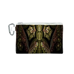 Fractal Abstract Patterns Gold Canvas Cosmetic Bag (S)