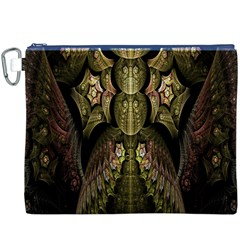 Fractal Abstract Patterns Gold Canvas Cosmetic Bag (xxxl)