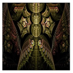 Fractal Abstract Patterns Gold Large Satin Scarf (Square)