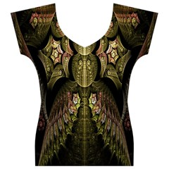 Fractal Abstract Patterns Gold Women s V-Neck Cap Sleeve Top