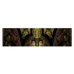 Fractal Abstract Patterns Gold Satin Scarf (oblong)