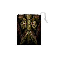Fractal Abstract Patterns Gold Drawstring Pouches (xs)