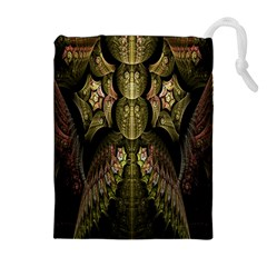 Fractal Abstract Patterns Gold Drawstring Pouches (extra Large)