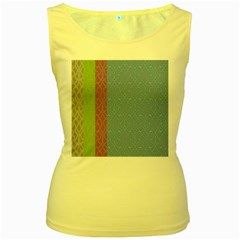 Fine Line Pattern Background Vector Women s Yellow Tank Top