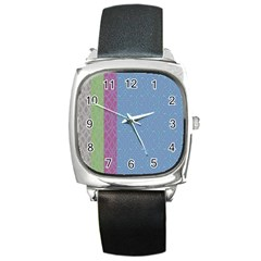 Fine Line Pattern Background Vector Square Metal Watch