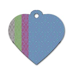 Fine Line Pattern Background Vector Dog Tag Heart (two Sides)