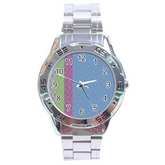 Fine Line Pattern Background Vector Stainless Steel Analogue Watch