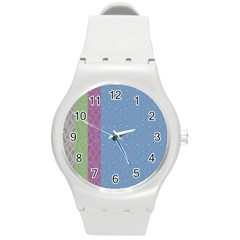 Fine Line Pattern Background Vector Round Plastic Sport Watch (M)
