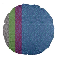 Fine Line Pattern Background Vector Large 18  Premium Flano Round Cushions