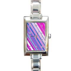 Line Obliquely Pink Rectangle Italian Charm Watch