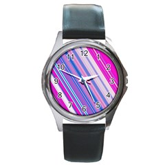 Line Obliquely Pink Round Metal Watch