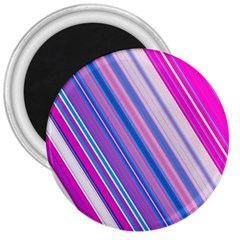 Line Obliquely Pink 3  Magnets