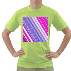 Line Obliquely Pink Green T Shirt