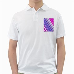 Line Obliquely Pink Golf Shirts