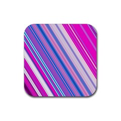 Line Obliquely Pink Rubber Square Coaster (4 Pack)