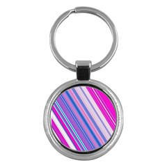 Line Obliquely Pink Key Chains (Round)