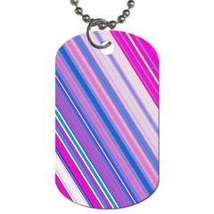 Line Obliquely Pink Dog Tag (Two Sides)