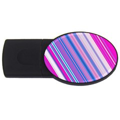 Line Obliquely Pink USB Flash Drive Oval (1 GB)