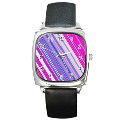 Line Obliquely Pink Square Metal Watch