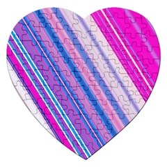 Line Obliquely Pink Jigsaw Puzzle (Heart)