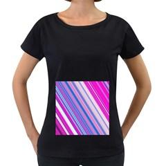 Line Obliquely Pink Women s Loose-Fit T-Shirt (Black)